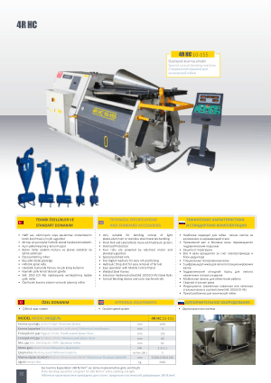 Sahinler Metal 4R HC 10-155 Technical Specifications