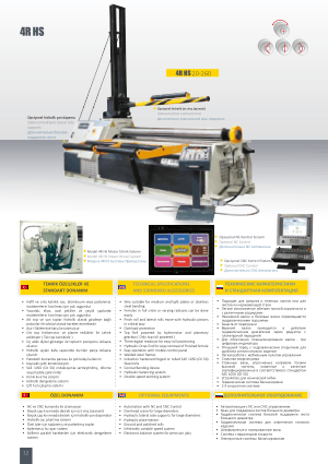 Sahinler Metal 4R HS 20-260 Technical Specifications