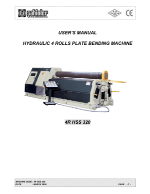 Sahinler Metal 4R HSS 320 Hydraulic 4 Rolls Plate Bending Machine User Manual