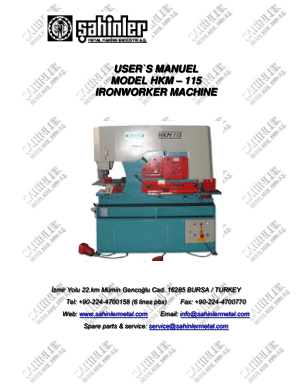 Sahinler Metal HKM-115 Ironworker Machine User Manual