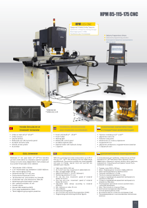 Sahinler Metal HPM 115 CNC Technical Specifications