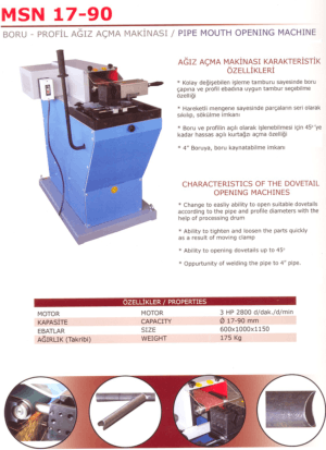 MSN 17-90 Pipe Mouth Opening Machine Dovetail Opening Machine Characteristics