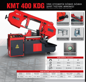 Karmetal KMT 400 KDG MDG Semi-auto Miter Band Saw Technical Specifications