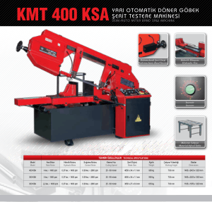 Karmetal KMT 400 KSA Semi-auto Miter Band Saw Technical Specifications