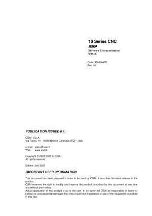 OSAI 10 Series CNC AMP Software Characterization Manual Rev 10