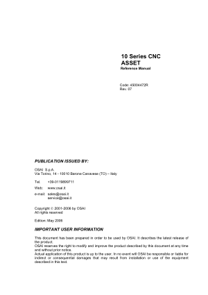 OSAI 10 Series CNC ASSET Reference Manual Rev 07
