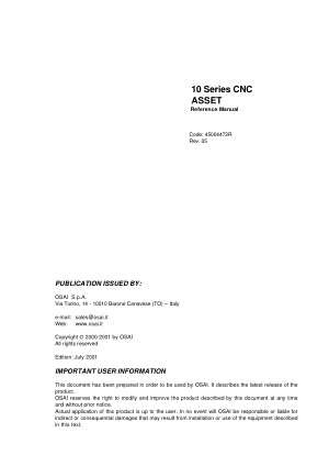OSAI 10 Series CNC ASSET Reference Manual Rev 05