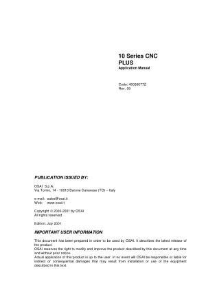 OSAI 10 Series CNC PLUS Application Manual Rev 09