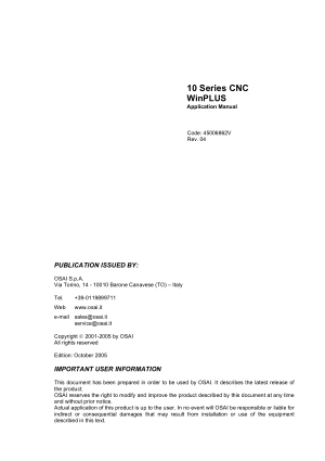 OSAI 10 Series CNC WinPLUS Application Manual Rev 04