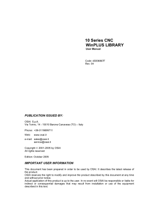 OSAI 10 Series CNC WinPLUS LIBRARY User Manual Rev 04