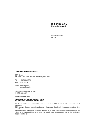 OSAI 10 Series CNC User Manual Rev 15