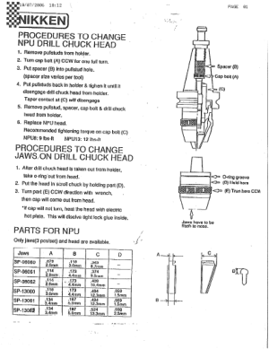 Nikken NPU Drill Chuck Head Body Replacement Instruction Manual