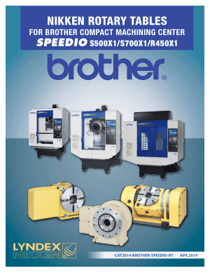 Lyndex-Nikken Brother Speedio S500X1 Rotary Table Catalog