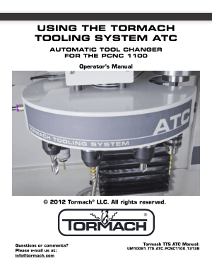 Tormach ATC Automatic Tool Changer for PCNC 1100 Operator's Manual