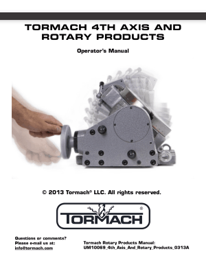 Tormach 4TH Axis and Rotary Products Operator's Manual