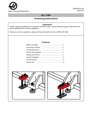 Haas CNC Anchoring Instructions