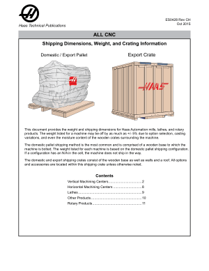 Haas CNC Shipping Dimensions, Weight, and Crating Information
