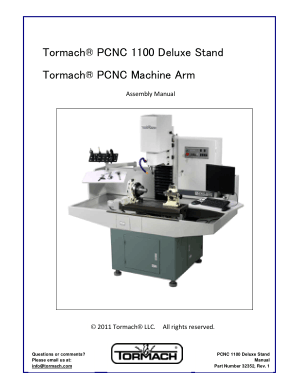 Tormach PCNC 1100 Deluxe Stand Tormach PCNC Machine Arm Assembly Manual