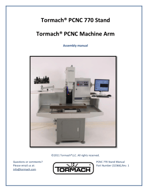 Tormach PCNC 770 Stand Tormach PCNC Machine Arm Assembly manual