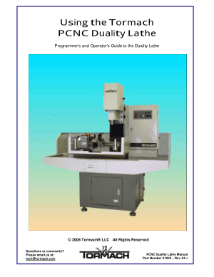 Tormach PCNC Duality Lathe Programmer's and Operator's Guide