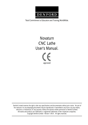 DENFORD Novaturn CNC Lathe Users Manual