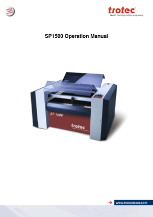 Trotec Laser SP1500 Operation Manual
