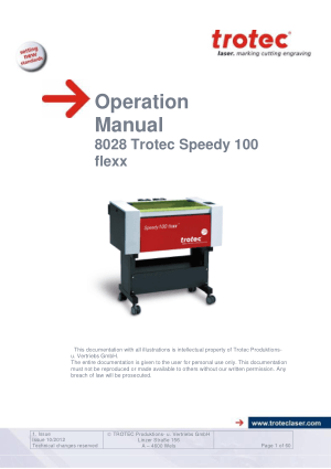 Trotec Laser 8028 Trotec Speedy 100 flexx Operation Manual