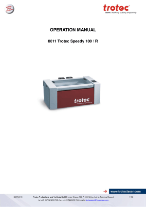 Trotec Laser 8011 Trotec Speedy 100 R Operation Manual