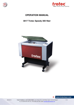 Trotec Laser 8017 Trotec Speedy 300 fiber Operation Manual