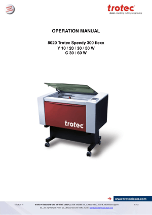 8020 Trotec Speedy 300 flexx Y10 50 W C30 60W Operation Manual