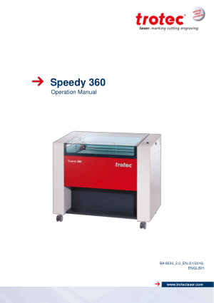 Trotec Laser Speedy 360 Operation Manual