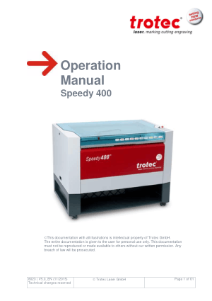 Trotec Laser Speedy 400 Operation Manual