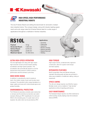 Kawasaki RS10L High-Speed High-Performance Industrial Robots