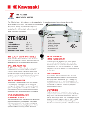 Kawasaki ZTE165U The Flexible Heavy-Duty Robots