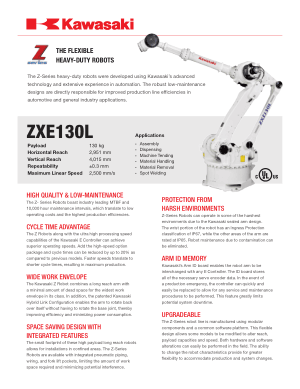 Kawasaki ZXE130L The Flexible Heavy-Duty Robots