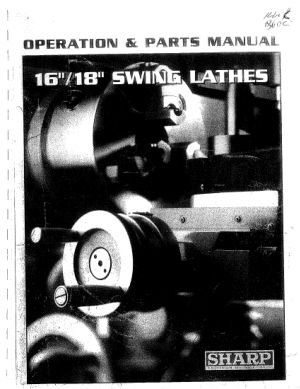 Sharp Precision Lathe 16 18 Swing Operation and Parts Manual