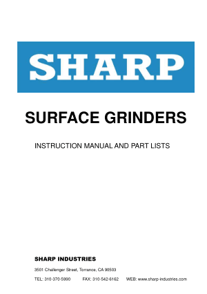 Sharp Surface Grinder Model SH-1224 Instruction Manual Parts List