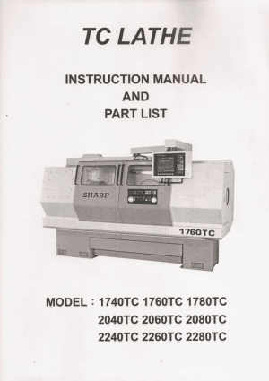 Sharp Teaching Lathe 1760TC Instruction Manual and Parts List