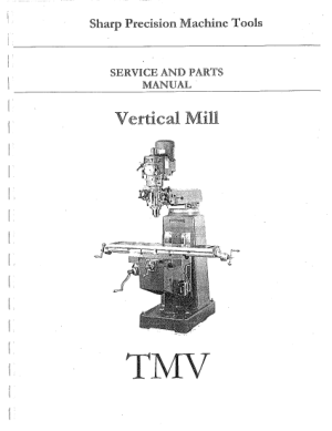 Sharp TMV Vertical Mill Service and Parts Manual