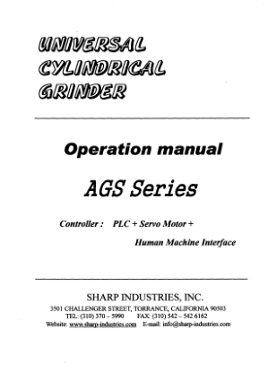 Sharp Universal Cylindrical Grinder – OD 1030 Operation Manual