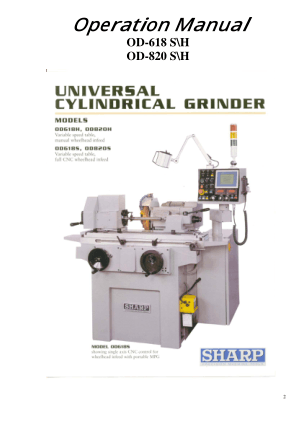 Sharp Universal Cylindrical Grinder OD-820 Operation Manual
