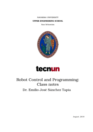Robot Control and Programming Class notes