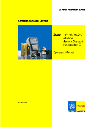 Fanuc Series 15i-16i-18i-21i Model A Remote Diagnosis Operators Manual B-63454EN/01