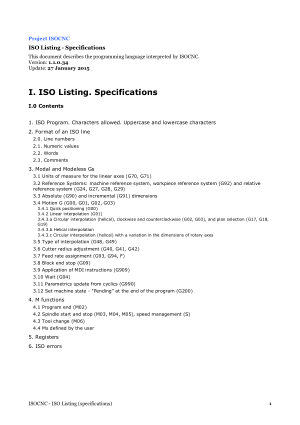 TPA – Manual ISOCNC Listing Specifications