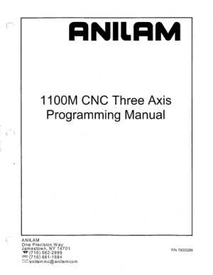 Anilam 1100M Programming Manual CNC Three Axis