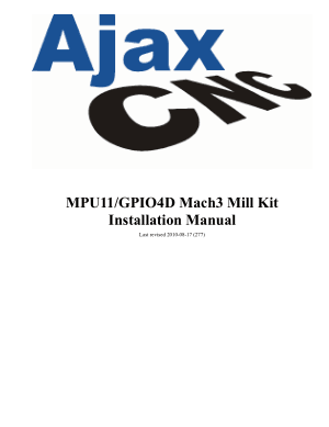 Ajax CNC MPU11/GPIO4D Mach3 Mill Kit Installation Manual
