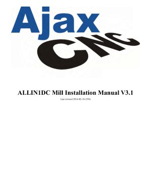 Ajax CNC ALLIN1DC Mill Installation Manual
