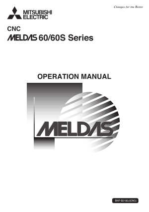 Mitsubishi CNC MELDAS 60/60S Series Operation Manual