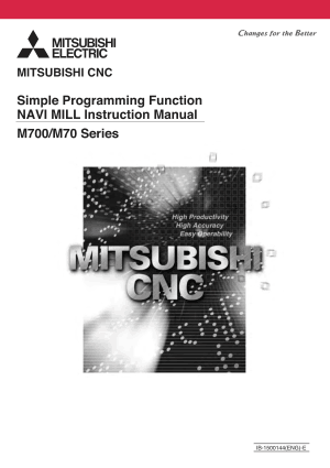 Mitsubishi CNC M700/M70 Series NAVI MILL Instruction Manual