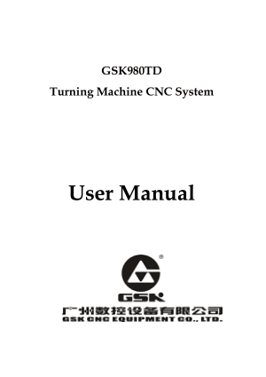 GSK980TD CNC Turning User Manual